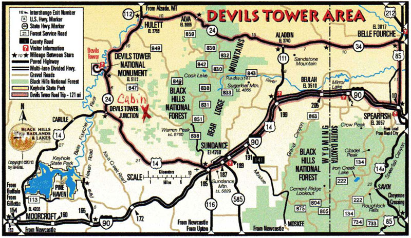 Devils tower vacation rental gillette casper cheyenne view a map of the area cabin marked with a red x publicscrutiny Choice Image
